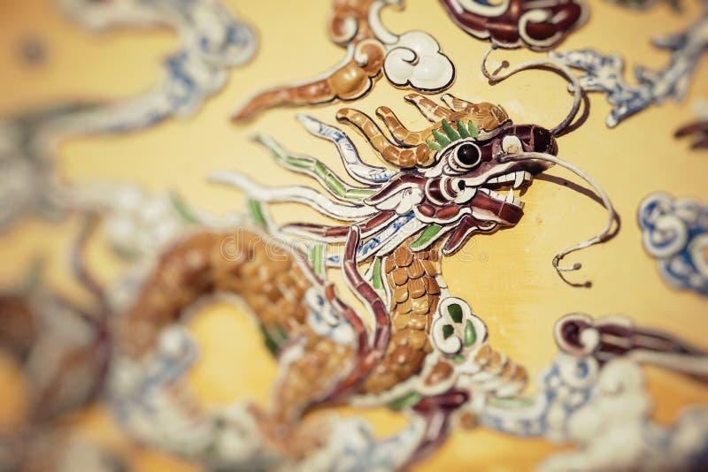Decorazioni del drago Royal Palace imperiale Fuoco selettivo immagini stock