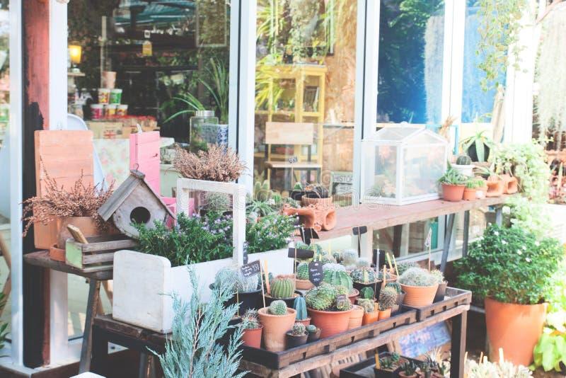 Decorazioni del giardino con la casa dell'uccello e le piccole piante immagini stock libere da diritti