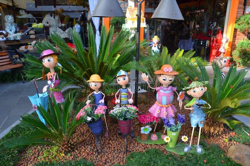 Decorazioni del letto di fiore - città di Gramado, Rio Grande do Sul, Brasile immagini stock