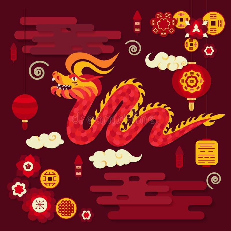 Decorazioni del nuovo anno del cinese tradizionale royalty illustrazione gratis