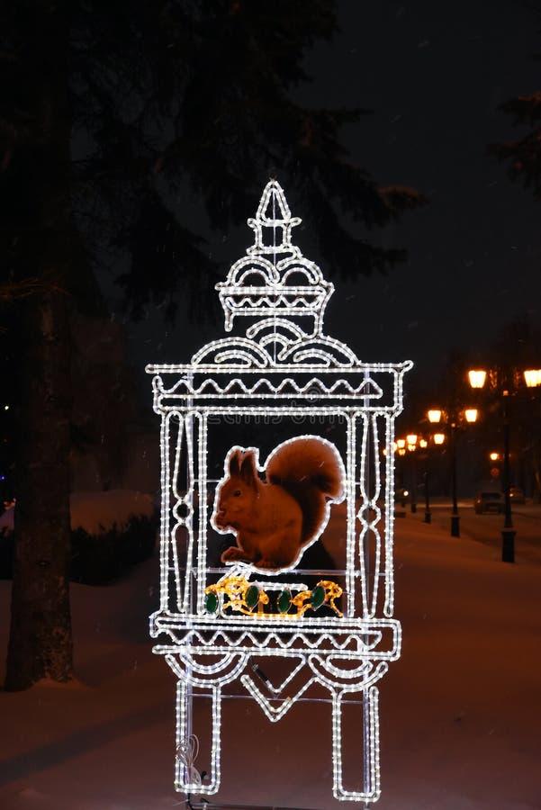 Decorazioni del nuovo anno e di Natale 2019 in Cremlino a Nizhny Novgorod fotografia stock libera da diritti