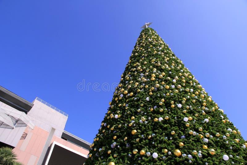 Decorazioni dell'albero di Natale e fondo enormi del cielo blu fotografie stock