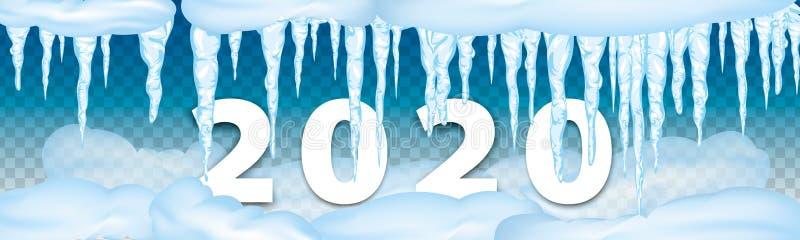 2020 decorazioni dell'inverno hanno messo dei ghiaccioli della neve, cappuccio della neve isolato Elementi di Snowy sul fondo di  immagini stock libere da diritti