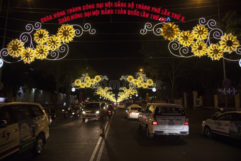 Decorazioni della via nella città di Ho Chi MInh immagine stock libera da diritti