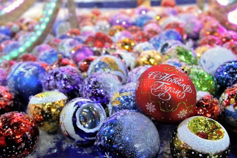Decorazioni di Natale con il buon anno di parole immagine stock