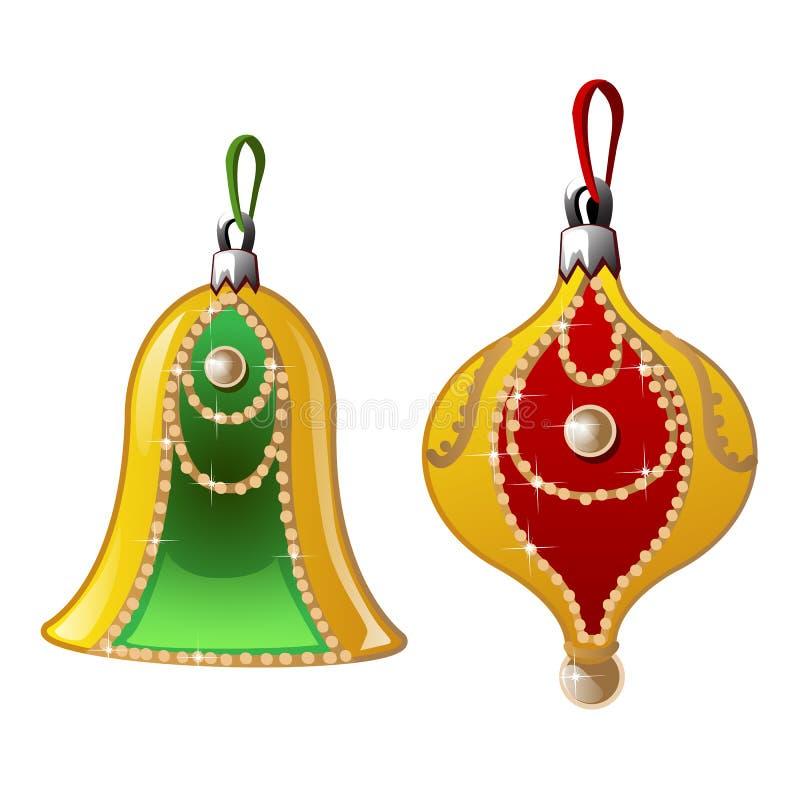 Decorazioni di Natale con le perle, la campana e la palla illustrazione vettoriale