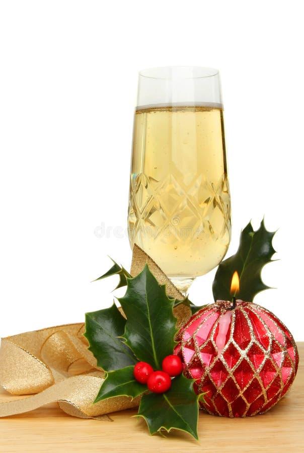 Decorazioni di natale e di Champagne immagine stock libera da diritti
