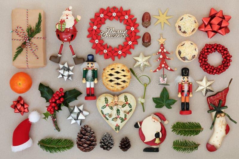 Decorazioni di Natale e simboli tradizionali fotografie stock