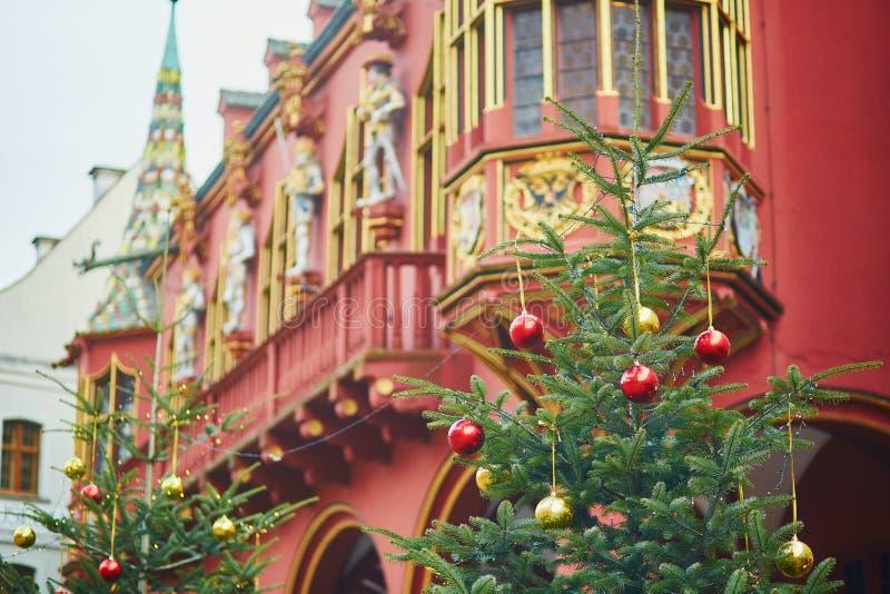Decorazioni di Natale a Friburgo-in-Brisgovia, Germania immagine stock