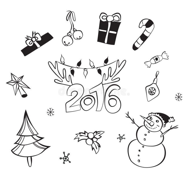 Decorazioni di natale impostate Icone di vettore Accumulazione degli elementi di disegno Oggetti del fumetto Pupazzi di neve, cer illustrazione vettoriale