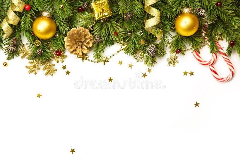 Decorazioni di Natale isolate sull'orizzontale bianco del fondo immagini stock