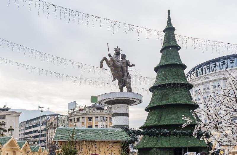 Decorazioni di Natale di Skopje fotografia stock libera da diritti