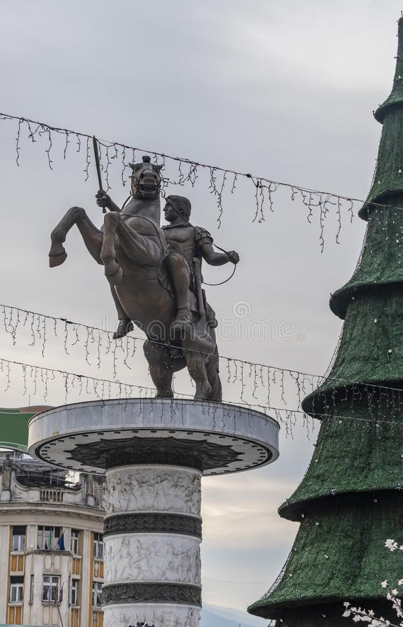 Decorazioni di Natale di Skopje fotografie stock libere da diritti