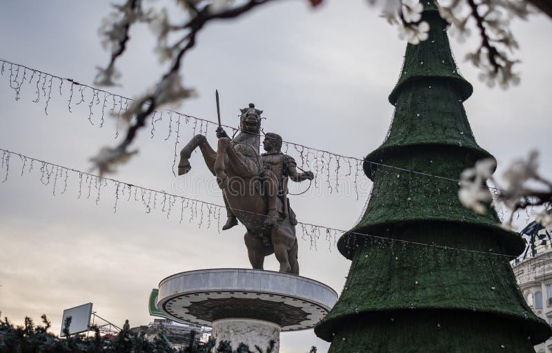 Decorazioni di Natale di Skopje fotografia stock