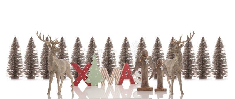 Decorazioni di Natale su fondo bianco fotografie stock libere da diritti