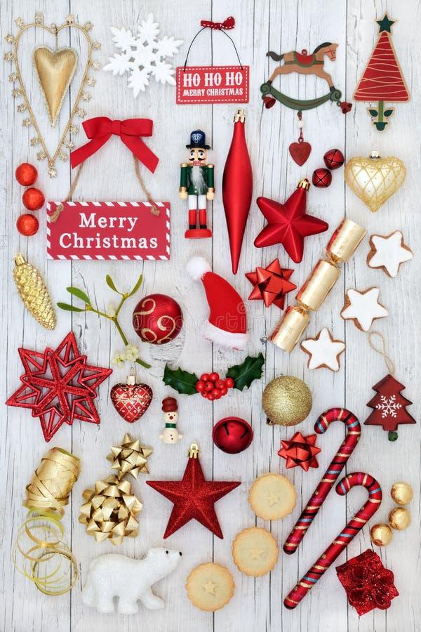 Decorazioni e simboli del Natale fotografie stock