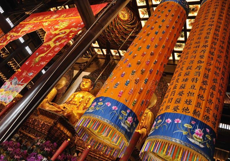 Decorazioni ed ornamenti dall'interno di Jade Buddha Temple a Shanghai fotografia stock libera da diritti
