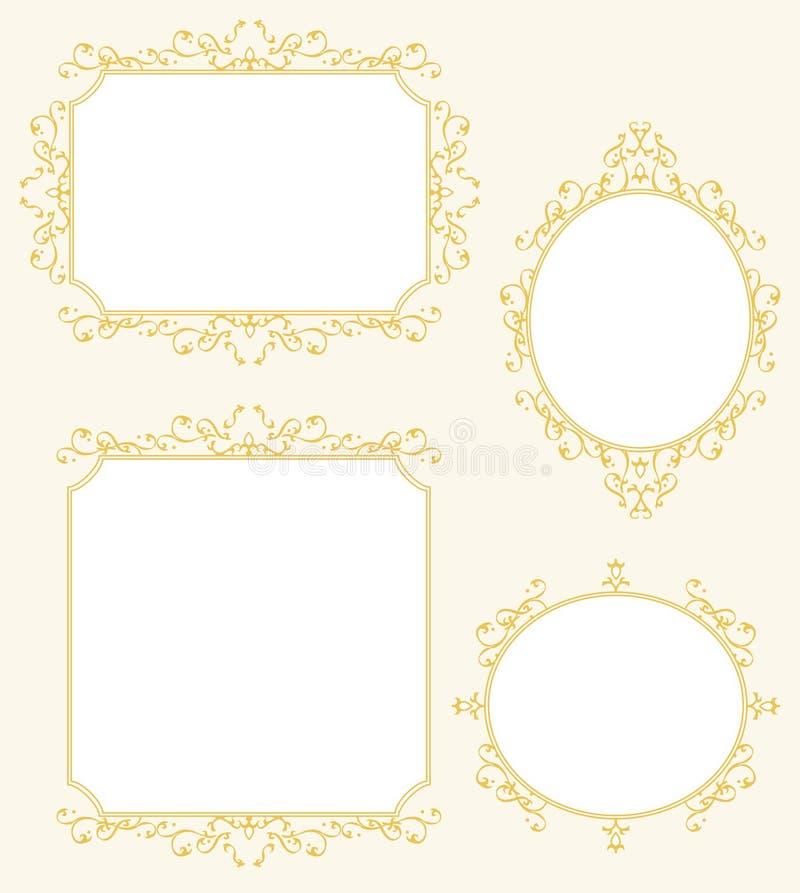 Decorazioni eleganti del confine della struttura messe illustrazione di stock