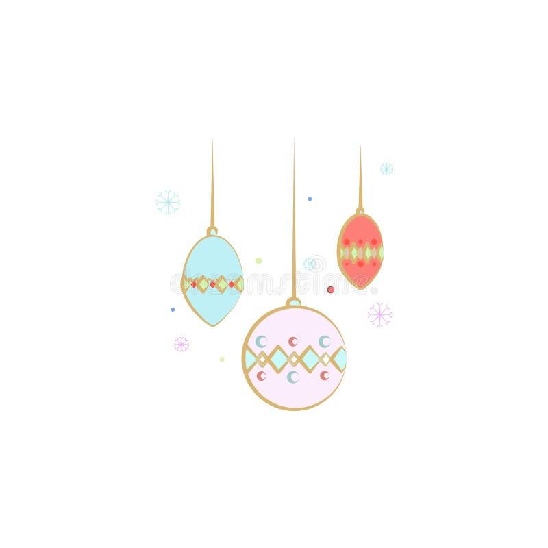 decorazioni, icona dell'albero di Natale Elemento del Natale per i apps mobili di web e di concetto Decorazioni colorate, illust  royalty illustrazione gratis
