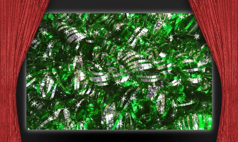 Decorazioni verdi di natale in scena fotografia stock