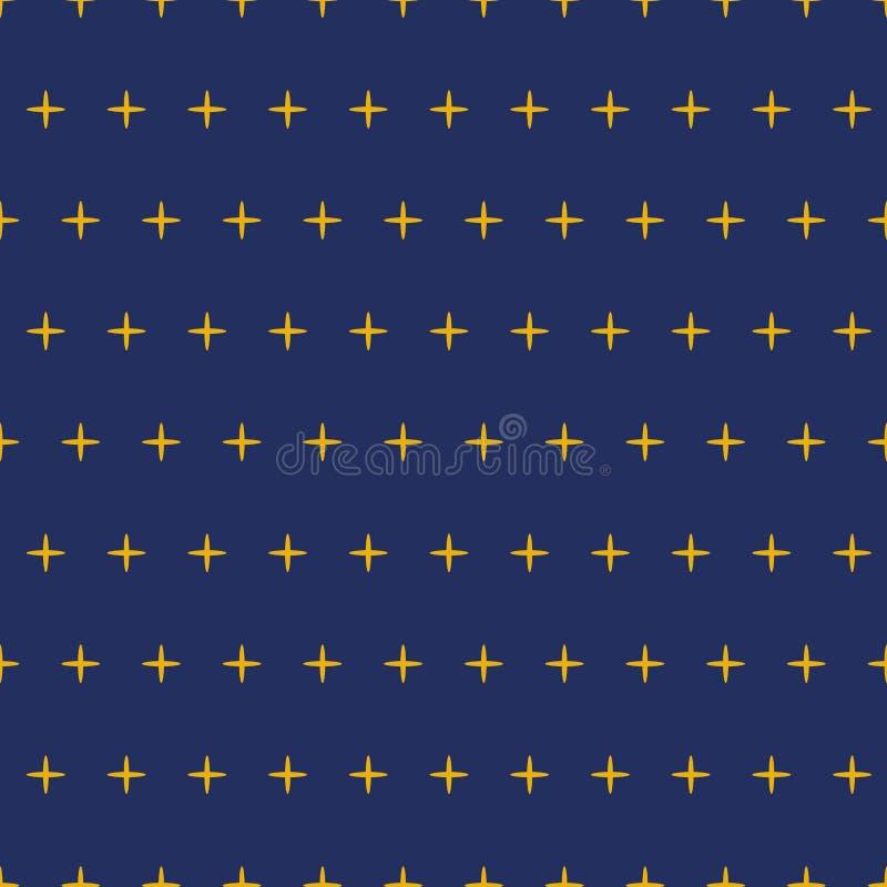 Decoreted den sömlösa modellen för vektorn gul bakgrund för stjärnapolkamarinen för textilen, himmelbakgrund Stjärnahimmeldesign vektor illustrationer
