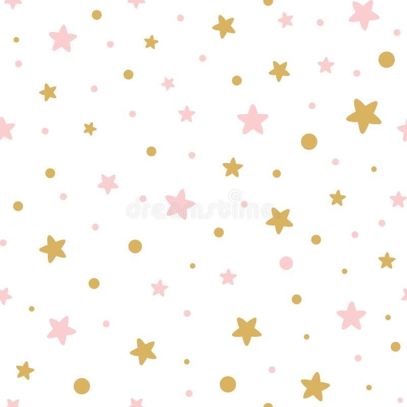 Decoreted guld- rosa stjärnor för vektor rosa sömlös modell för julbackgound eller söt flickadesign för baby shower royaltyfri illustrationer