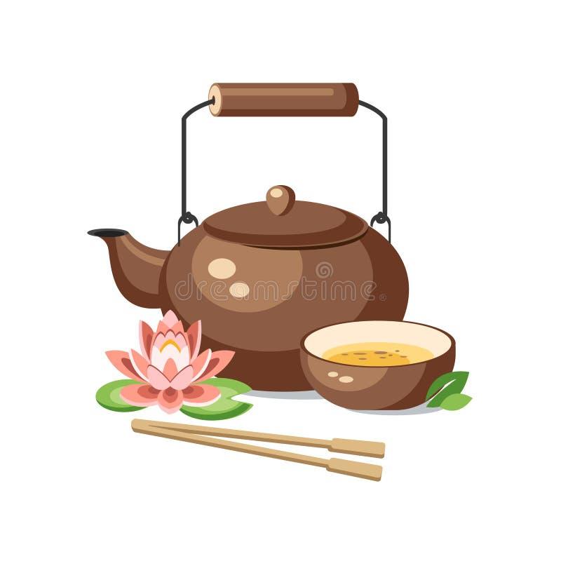 Decori giapponesi chenese del loto della ciotola della tazza di cerimonia di tè verde della teiera illustrazione di stock