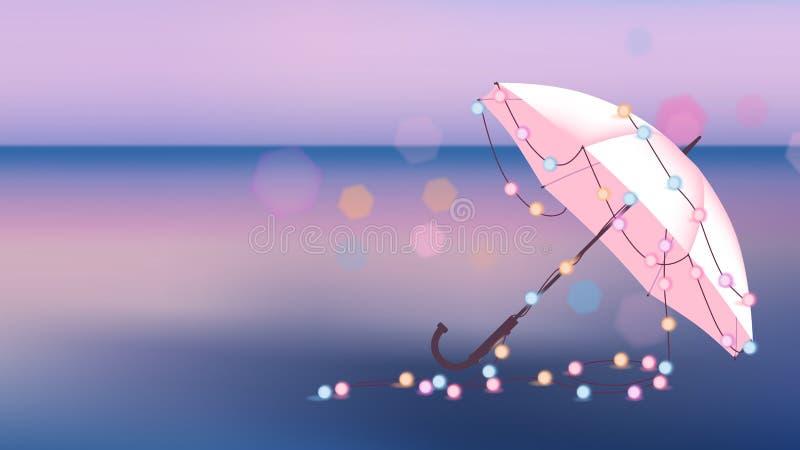 Decori l'ombrello con le luci d'ardore royalty illustrazione gratis