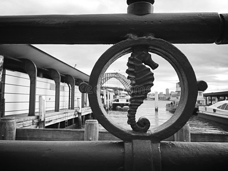 Decorative seahorse on Sydney harbour bridge stock image
