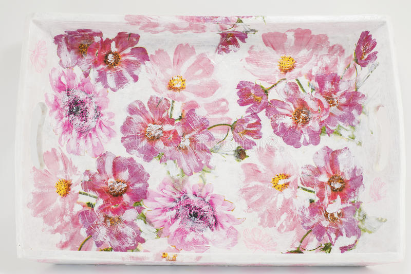Decoupage decorated tray with flower pattern royalty free stock photos