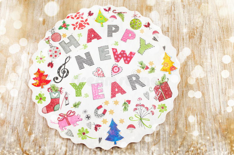 Decoupage New Year decorations made of paper royalty free stock photography
