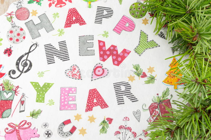 Decoupage New Year decorations made of paper stock photos