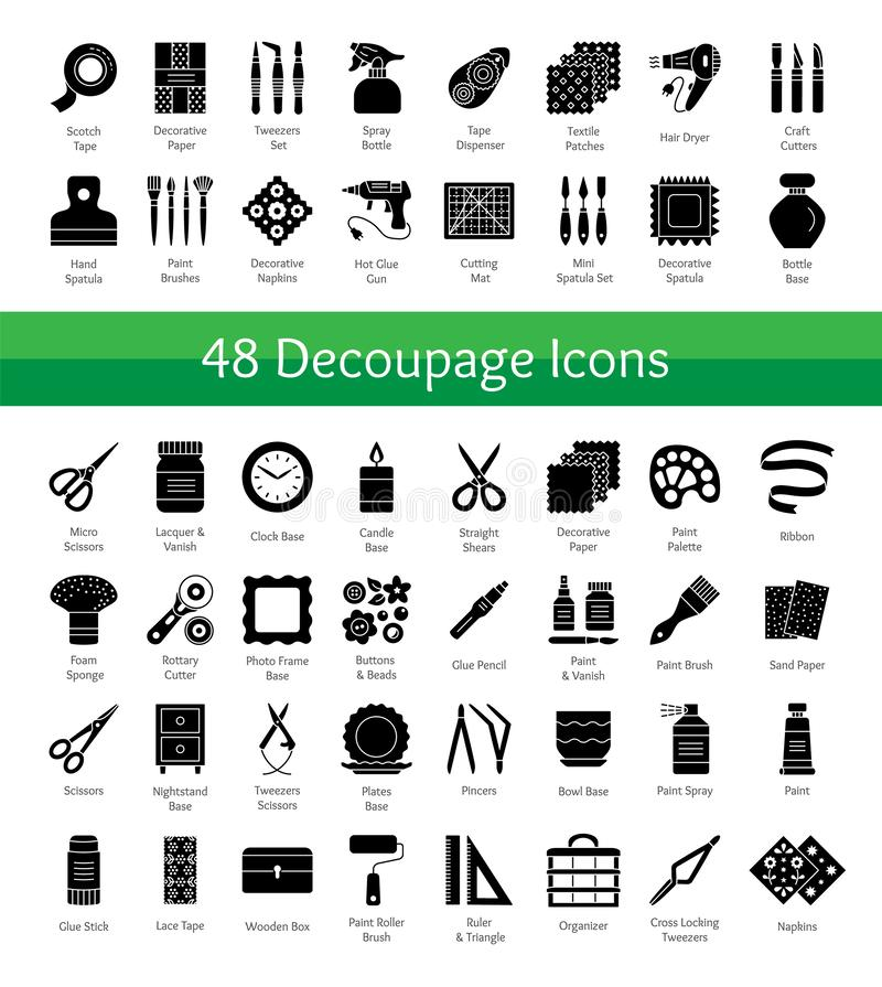 Decoupage tools. Bricolage & handicraft supplies. Vector flat icons set. Decorating boxes with paper napkins and glue. Handmade h. Obby. objects on white stock illustration