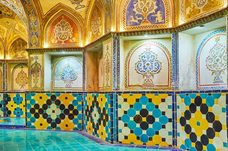 Decrationsna i Sultan Amir Ahmad Qasemi Bathhouse, Kashan, arkivfoto