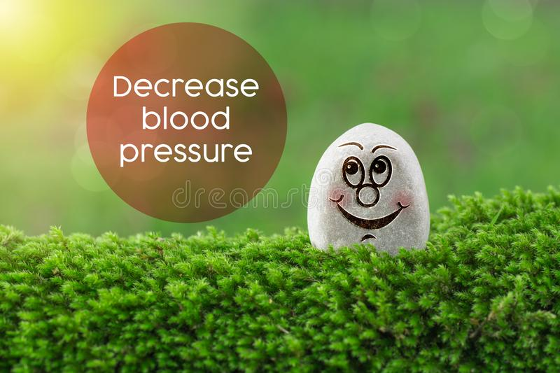 Decrease blood pressure. The text Decrease blood pressure with stone smile happy face on green moss and sunshine light background royalty free stock photos