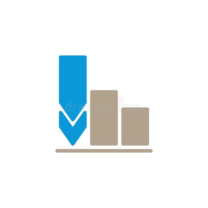 Decrease business graph flat icon royalty free illustration