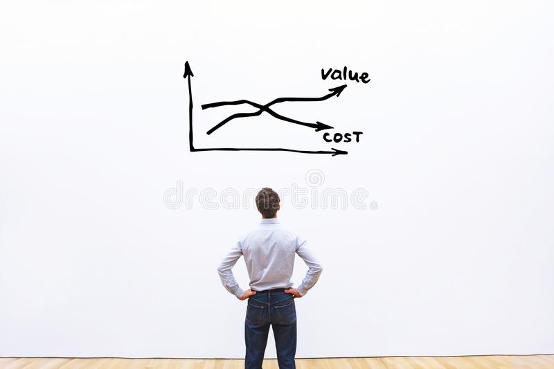 Decrease cost and increase value business concept stock photos