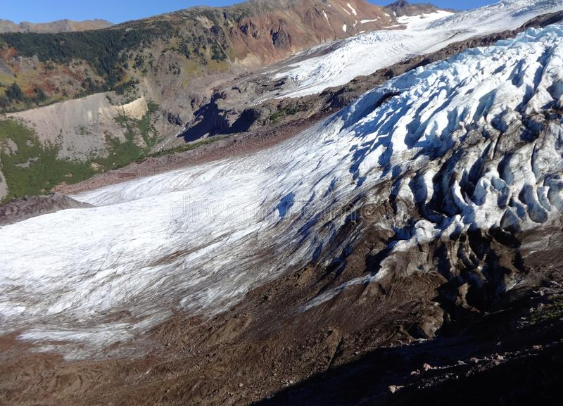 Mount Baker`s Coleman Glacier in fall. Decreased/ receding Mount Baker`s Colman Glacier in fall of 2017 stock images