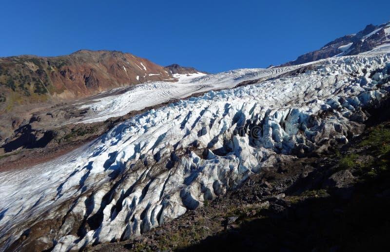 Mount Baker`s Coleman Glacier in fall. Decreased/ receding Mount Baker`s Colman Glacier in fall of 2017 stock photos