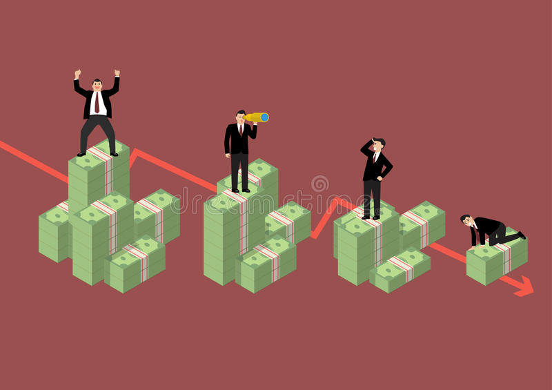 Decreasing cash money with businessmen in various activity. Economic concept royalty free illustration
