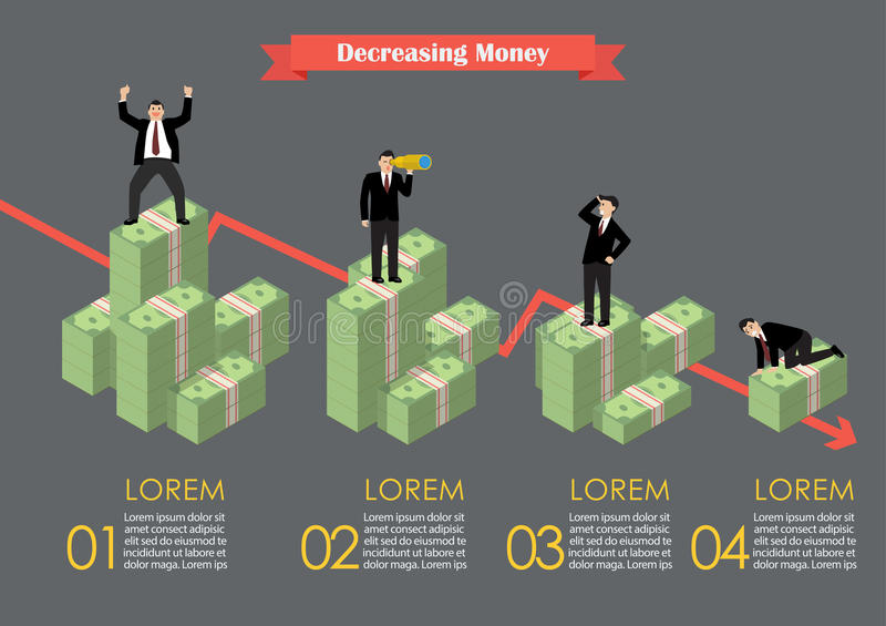 Decreasing cash money with businessmen in various activity infographic. Economic concept vector illustration