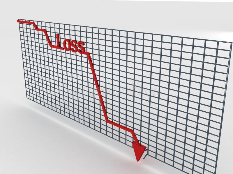 Decreasing graph stock image