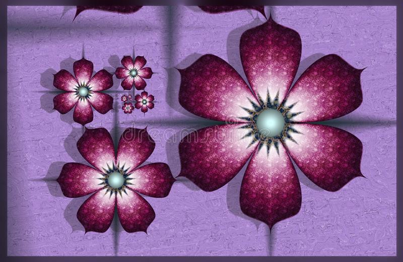 Purple fractal flowers vector illustration