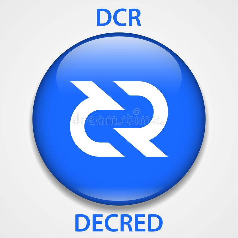 Decred Coin cryptocurrency blockchain icon. Virtual electronic, internet money or cryptocoin symbol, logo.  royalty free illustration