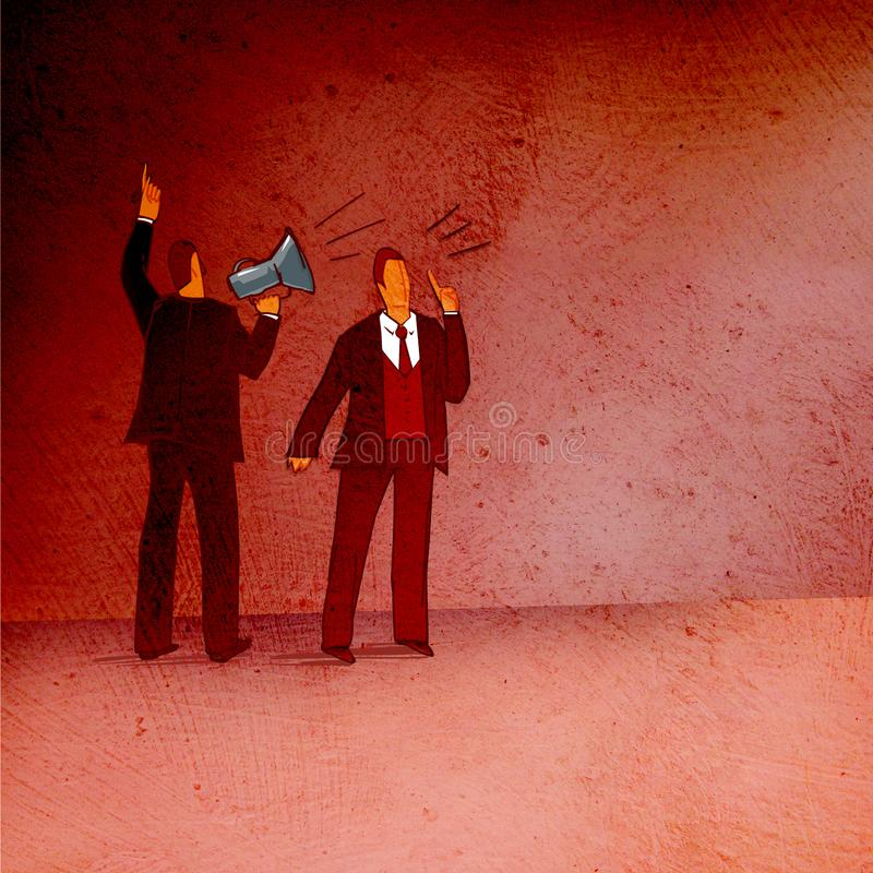 Decrees and advice. Business situation: standing with his back to the viewer, a man with a horn and a man`s face is loudly ordered. Business situation: standing stock illustration