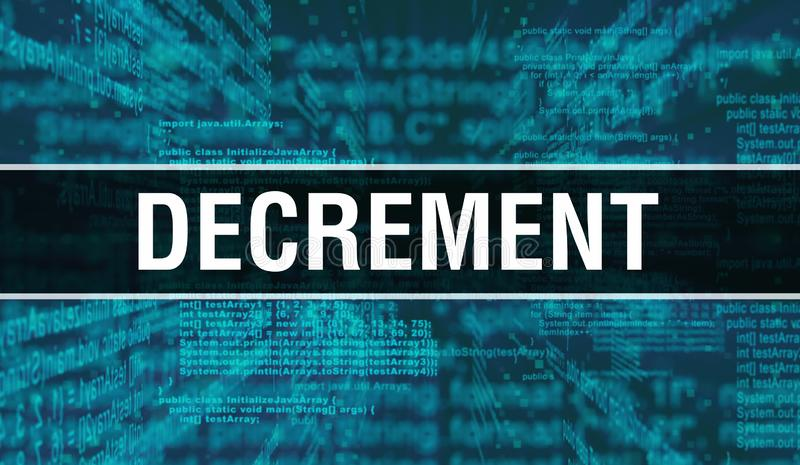 Decrement with Digital java code text. Decrement and Computer software coding vector concept. Programming coding script java,. Digital program code with stock image