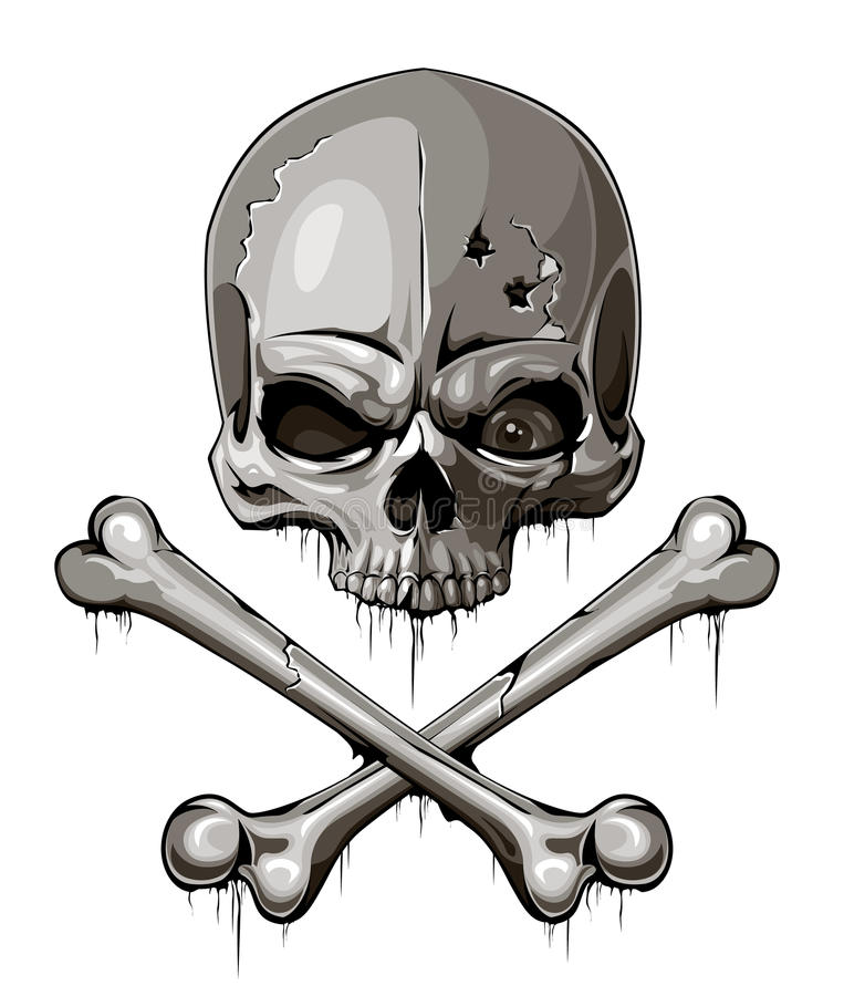 Download Decrepit Skull With Two Crossed Bones Stock Photo - Image: 29294300