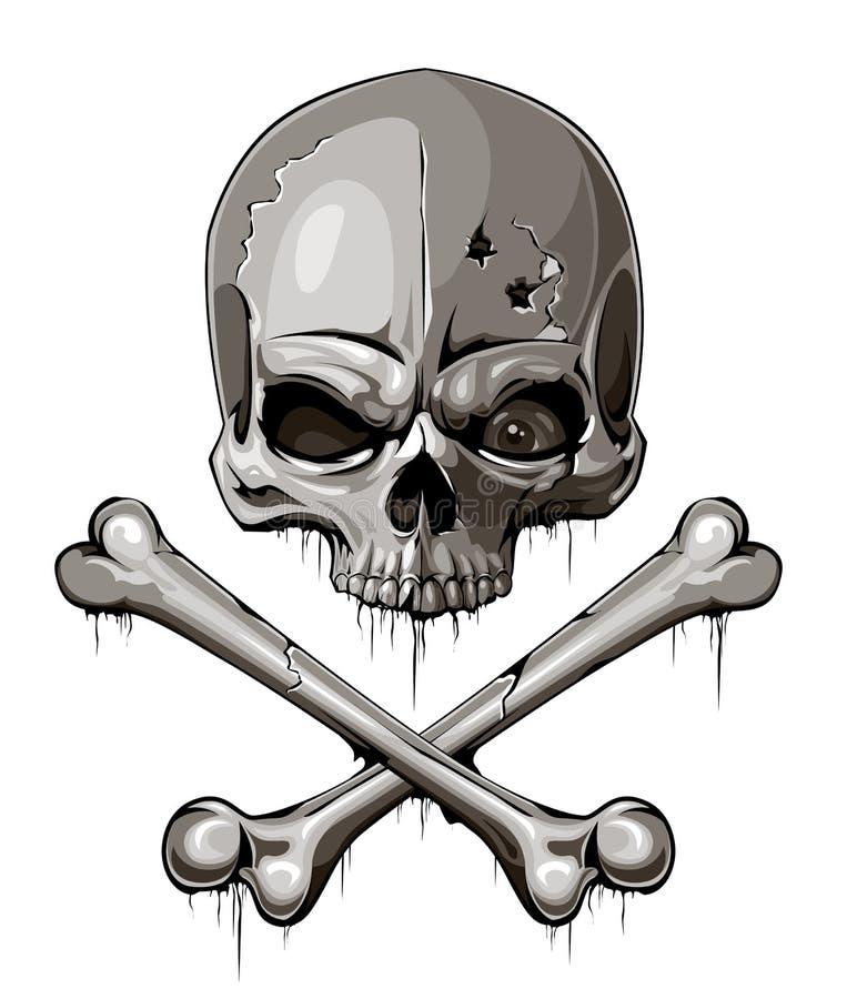 Free Decrepit Skull With Two Crossed Bones Stock Photo - 29294300