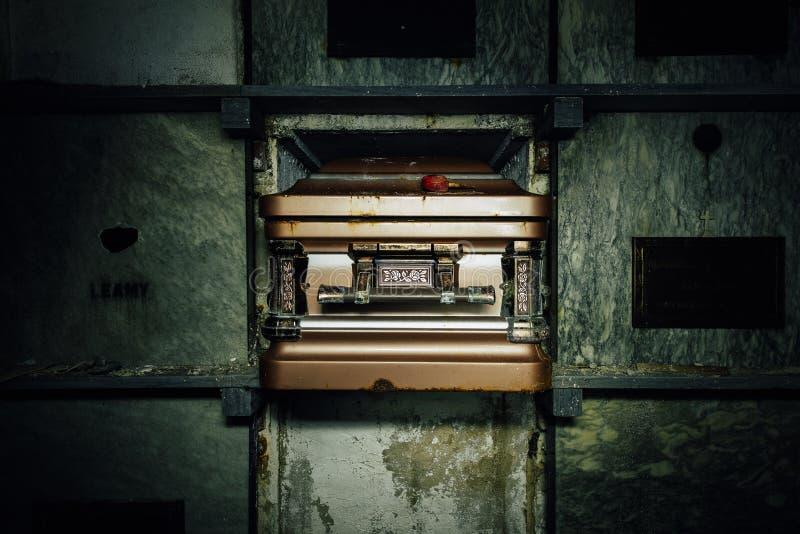 Decrept棺材-被放弃的陵墓 免版税图库摄影