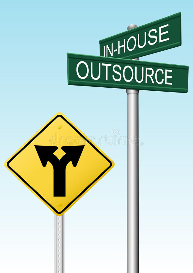 decyzi biznesowej outsourcingu znaków dostawa ilustracja wektor